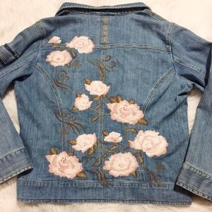 24212ca88f Chico s Jackets   Coats - Pink floral embroidered denim jacket